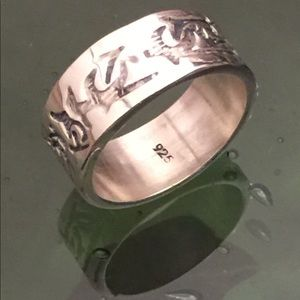 Heavy .925 Sterling Silver Etched Band Ring